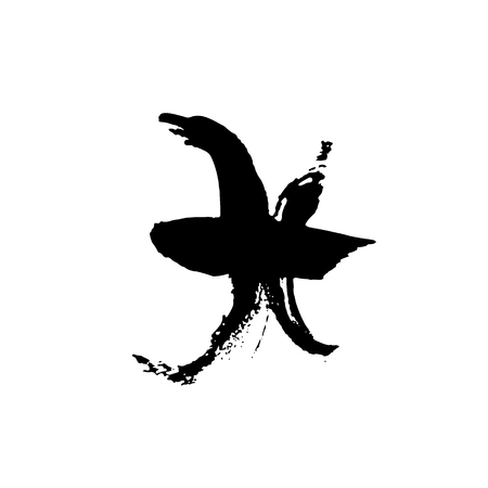 Zodiac sign Pisces. Vector dry brush illustration isolated on white background. Illustration