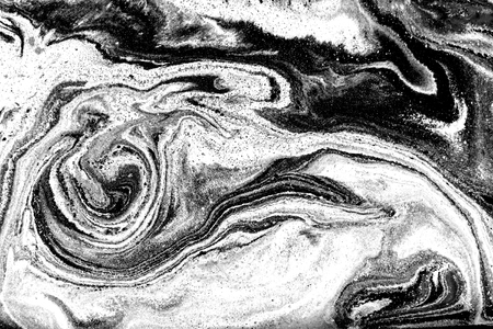 Black and white marbling pattern. Marble liquid texture