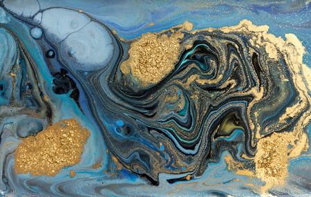 Motif marbré bleu. Texture liquide en marbre doré.