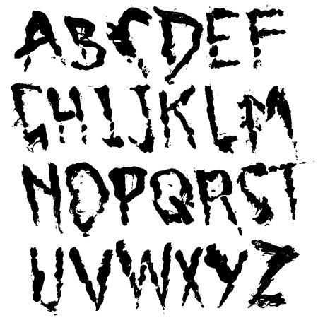 Hand drawn dry brush lettering. Grunge style alphabet. Handwritten font. Vector illustration.