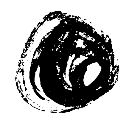 Ink vector dry brush stroke round banner. Vector illustration. Grunge texture
