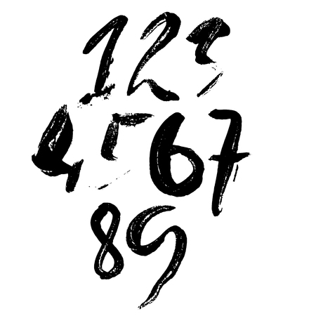 Set of grunge handdrawn numbers. Modern dry brush lettering. Vector illustration