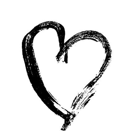 Corazón de grunge. Impresión del día de San Valentín. Ilustración vectorial.