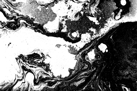 Black and white marbling pattern. Marble liquid texture.