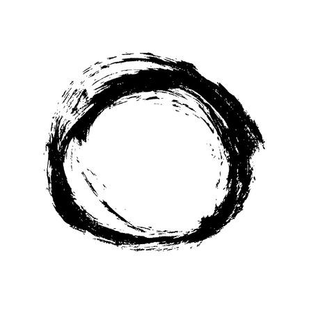 Ink vector brush stroke round frame. Vector illustration. Grunge texture