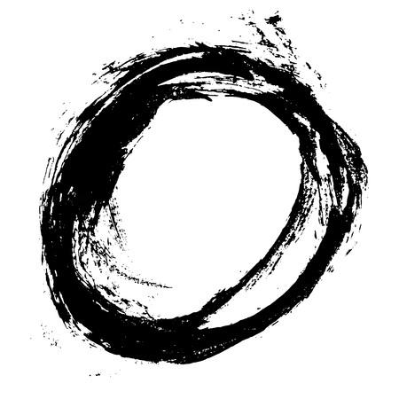 Cadre rond de coup de pinceau de vecteur d'encre. Illustration vectorielle. Texture grunge. Vecteurs