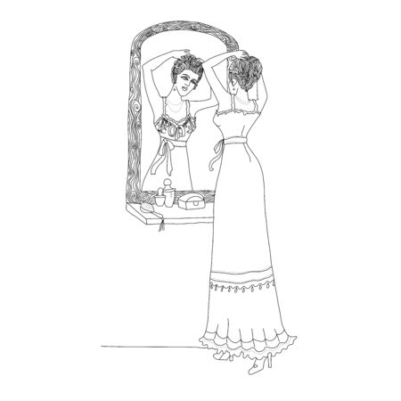 Beautiful retro style woman. Vector illustration for coloring book. Vintage girl looks in the mirror