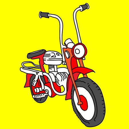 Scooter sketch. Red bike print. Vector simple illustration