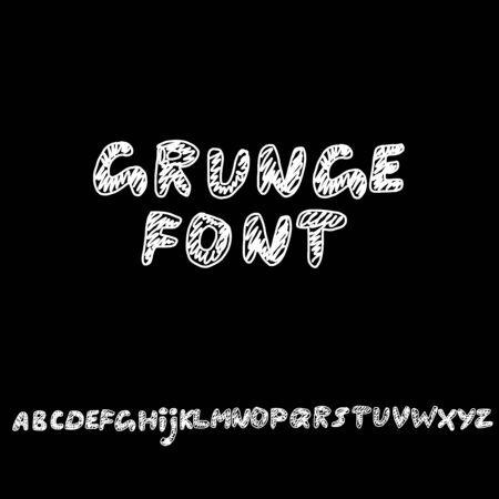 Modern lettering. Grunge style alphabet. Linear font. Vector illustration Illustration