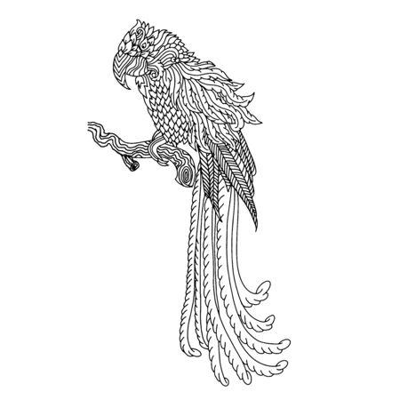 Parrot sketch. Doodle bird pattern. Vector illustration. Stock Illustratie