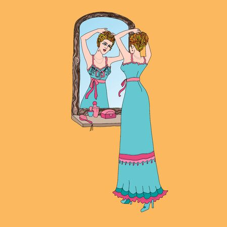 Beautiful retro style woman. Vector illustration. Vintage girl looks in the mirror