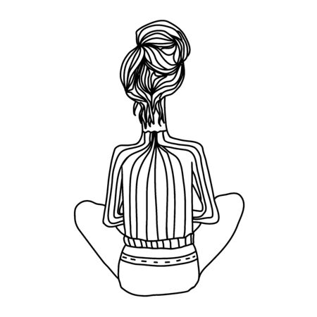 Beauty modern woman with long hairstyle sits back. Vector illustration for coloring book. Illustration