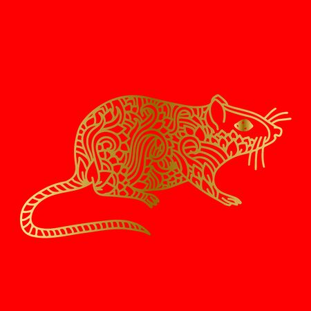 Rat sign. Chinese Happy new year 2020. Red and golden holiday sketch. Vector illustration.