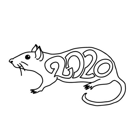 Rat sign. Chinese Happy new year 2020. Black and white holiday sketch. Vector illustration.