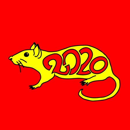Rat sign. Chinese Happy new year 2020. Red and yellow holiday sketch. Vector illustration.