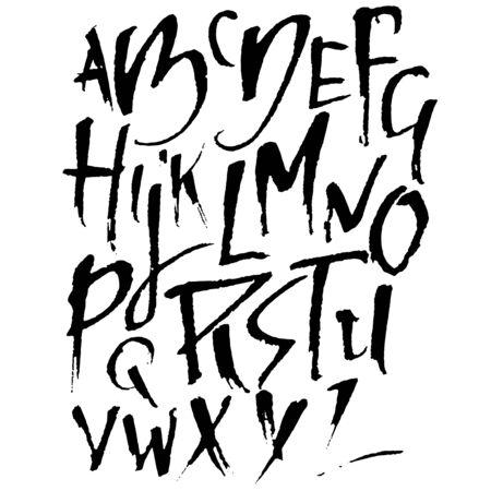 Police de pinceau sec dessiné à la main. Lettrage au pinceau moderne. Alphabet de style grunge. Illustration vectorielle.