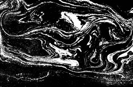 Black and white liquid texture. Abstract vector background.