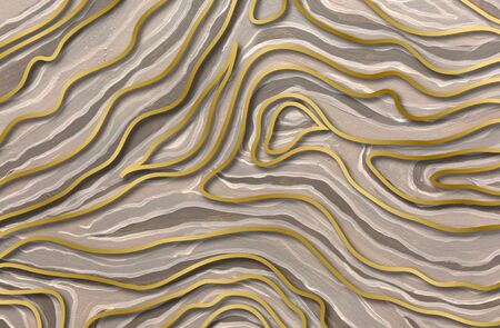 Gold and gray abstract wave pattern. Oil paint texture Stockfoto