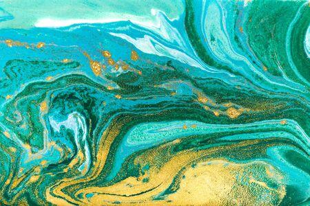 Beautiful unique turquoise acrylic marble background Stock Photo - 130801505