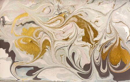 Pastel marble pattern with golden glitter. Abstract liquid background Banco de Imagens