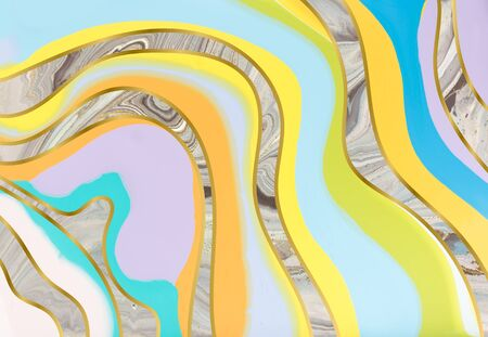 Colorful pastel marble pattern. Abstract liquid background