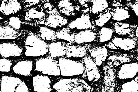 Stones wall background. Black and white texture. Vector illustration