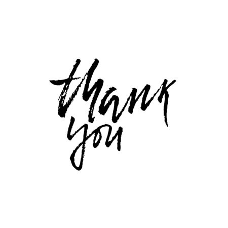 Thank You. Hand drawn dry brush lettering. Thanks card. Vector illustration.