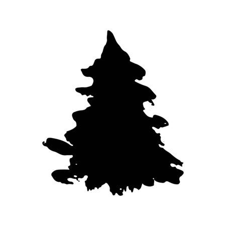 Fir tree silhouette. Black grunge Christmas tree. Watercolor spruce isolated on white background. Vector illustration. Ilustracja