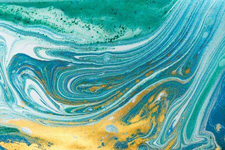 Beautiful unique turquoise acrylic marble background.