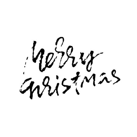 Merry Christmas. Holiday modern dry brush ink lettering for greeting card. Vector illustration.