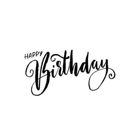 Happy birthday lettering for invitation and greeting card, prints and posters. Handwritten inscription. Calligraphic design. Vector illustration Ilustracja