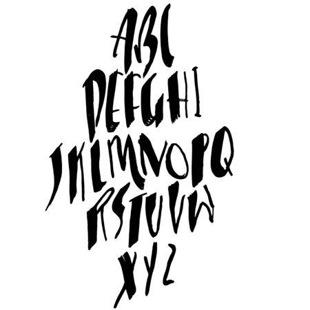 Hand drawn dry brush font. Modern brush lettering. Grunge style alphabet. Vector illustration