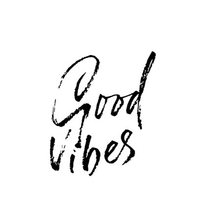 Good vibes. Hand drawn modern dry brush lettering. Handwritten calligraphy card. Vector illustration Banque d'images - 131732884