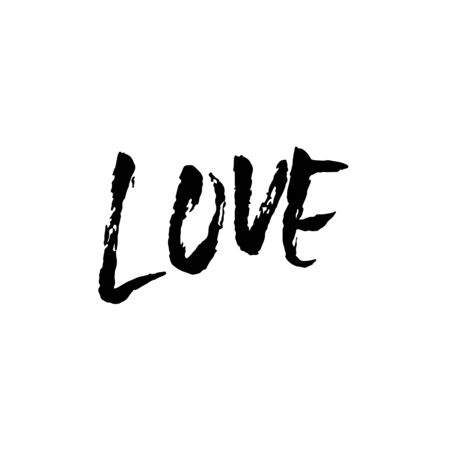 Love. Modern dry brush calligraphy. Handwritten phrase isolated on white background for Valentine day card, wedding card, poster. Vector illustration