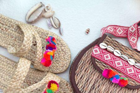 Bohemian straw wicker bag and slippers. Boho stile mosk up Reklamní fotografie