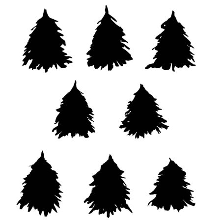 Fir tree silhouettes set. Black grunge Christmas tree. Watercolor spruce isolated on white background. Vector illustration