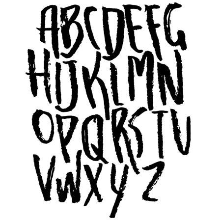 Hand gezeichnete trockene Pinselschrift. Moderne Pinselschrift. Alphabet im Grunge-Stil. Vektorillustration.