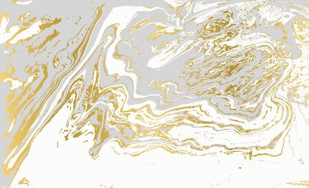 Gray and gold agate ripplle pattern. Pale beautiful marble background