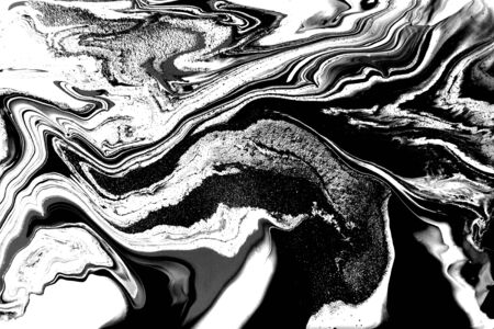 Black and white abstract background. Liquid marble pattern. Monochrome texture. Banco de Imagens - 133774757