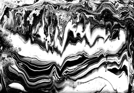 Black and white abstract background. Liquid marble pattern. Monochrome texture. Banco de Imagens - 133774768