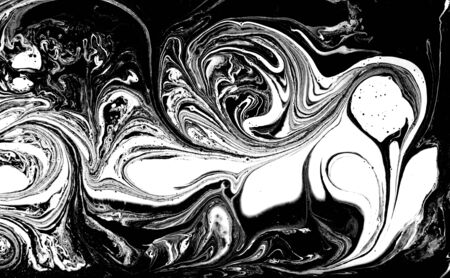 Black and white abstract background. Liquid marble pattern. Monochrome texture. Banco de Imagens - 133774771