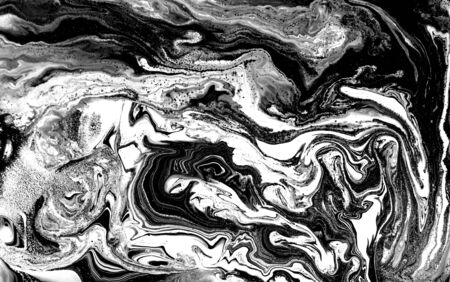 Black and white abstract background. Liquid marble pattern. Monochrome texture. Banco de Imagens - 133774922