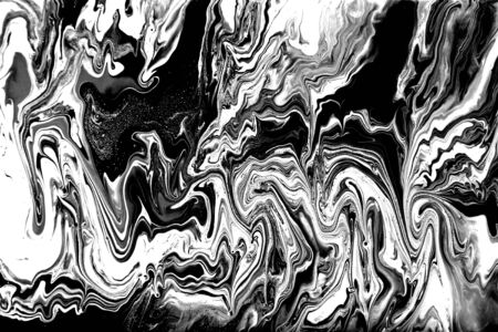 Black and white abstract background. Liquid marble pattern. Monochrome texture. Banco de Imagens - 133774925