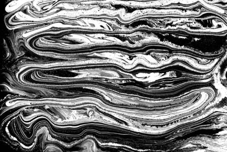 Black and white abstract background. Liquid marble pattern. Monochrome texture. Banco de Imagens - 133774943