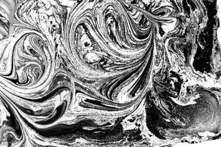 Black and white abstract background. Liquid marble pattern. Monochrome texture. Foto de archivo - 134240055