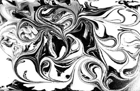 Black and white abstract background. Liquid marble pattern. Monochrome texture. Foto de archivo - 134240039