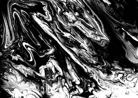 Black and white abstract background. Liquid marble pattern. Monochrome texture. Foto de archivo - 134240046