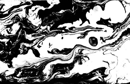 Black and white abstract background. Liquid marble pattern. Monochrome texture. Foto de archivo - 134240045