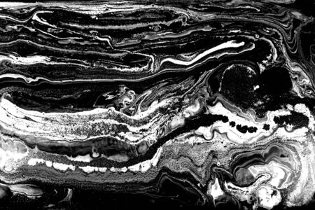Black and white abstract background. Liquid marble pattern. Monochrome texture. Foto de archivo - 134240070