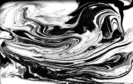 Black and white abstract background. Liquid marble pattern. Monochrome texture. Foto de archivo - 134240087